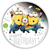 Silber Minions Happy Birthday 1 oz PP coloriert