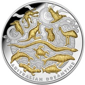 Silber Australian Dreamtime 2019 - 5 oz High Relief vergoldet