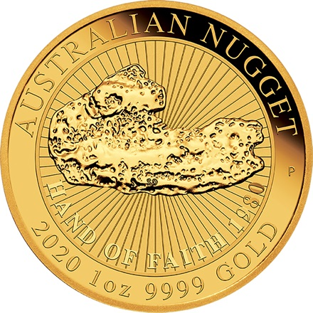 Gold Australian Nugget 1 oz - Hand of Faith 2020