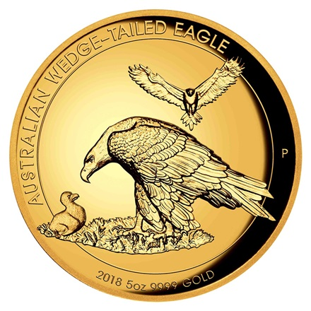 Gold Wedge Tailed Eagle 2018 - 5 oz PP High Relief