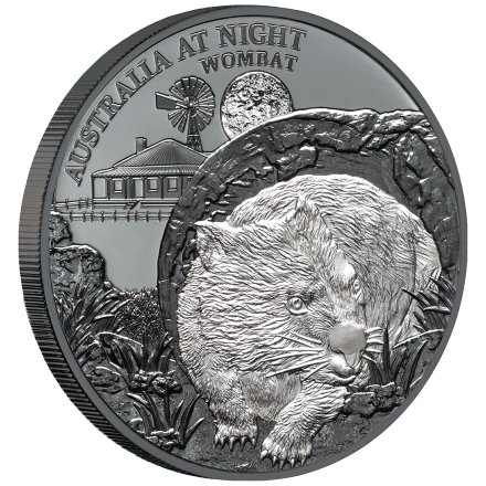 Silber Wombat 1 oz  2021 - Black Proof