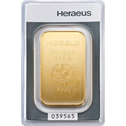 goldbarren 100g heraeus 100g gold f r bei philoro edelmetalle aus leipzig gold. Black Bedroom Furniture Sets. Home Design Ideas