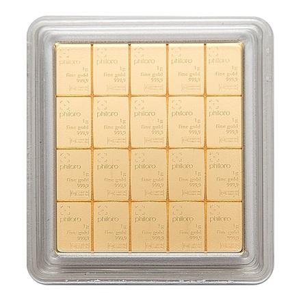 gold combibar 20 x 1 g philoro 1g gold f r 753 00 bei philoro edelmetalle aus leipzig. Black Bedroom Furniture Sets. Home Design Ideas