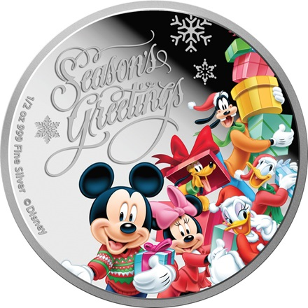 Disney Seasons Greetings Silbermünze 1/2 oz 2015 PP