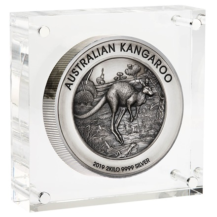 Silber Känguru 2 kg 2019 - High Relief - Antik Finish