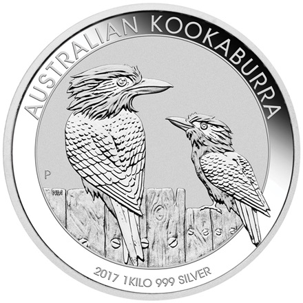 2017 1 kg silver Kookaburra Australia  Front