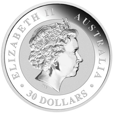 2017 1 kg silver Kookaburra Australia  Back
