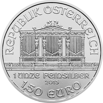 (Random year) 1 Oz silver Philharmonic Austria  Back